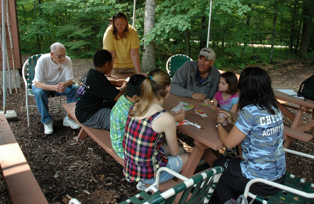 People playing a card game