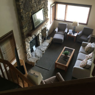 Looking down on the living room